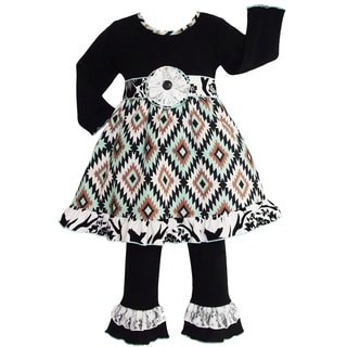 AnnLoren Girls Aztec Lattice & Lace Boutique Dress & Pants