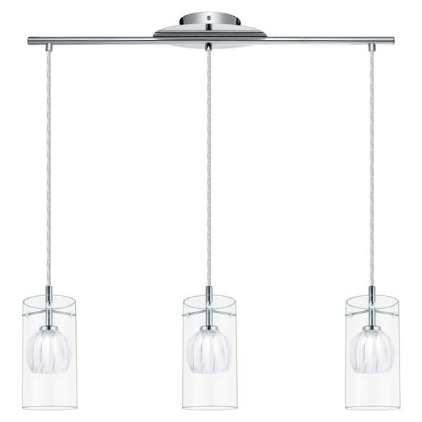 Eglo Ricabo - 3 x 40W Mini Pendant w/Chrome Finish & Satin & Clear Glass