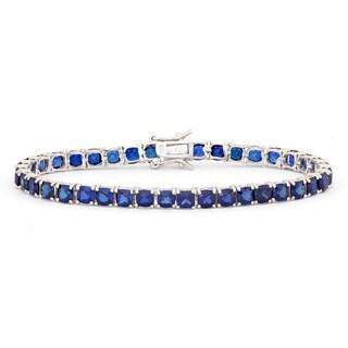 Gioelli Sterling Silver Cushion Created Sapphire Bracelet