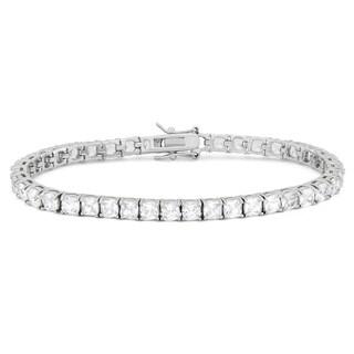 Gioelli Sterling Silver Cushion Created White Sapphire Gemstone Bracelet