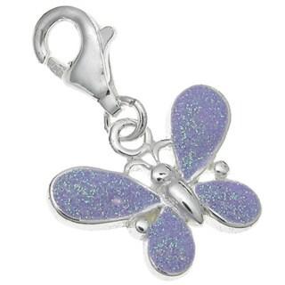 Queenberry Sterling Silver Purple Enamel Butterfly Dangle European Bead Charm