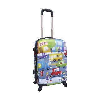 Curtis Publishing Cityscape 20-inch Hardside Spinner Upright Carry-on Suitcase