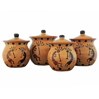 Southwestern Hand-painted 4-piece Food Storage Canister Set