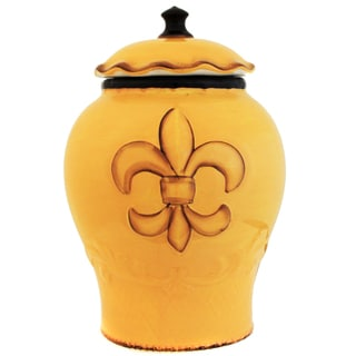 French Tradition Yellow Fleur-De-Lis Hand-painted Cookie Jar