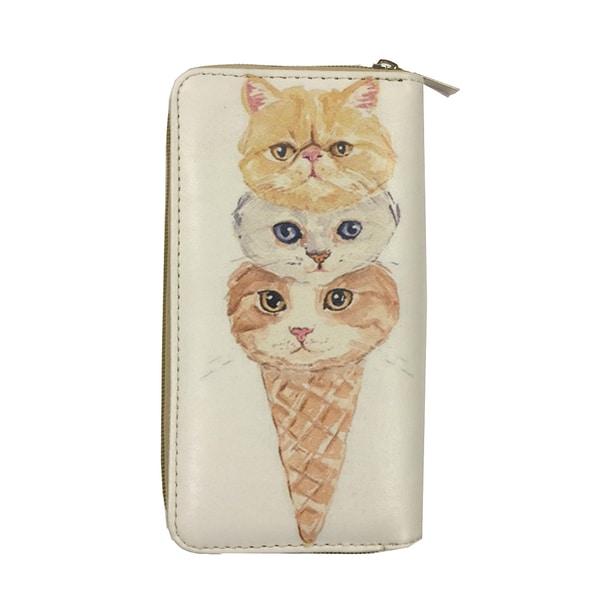Kitten Ice Cream Cone Zip-around Wallet