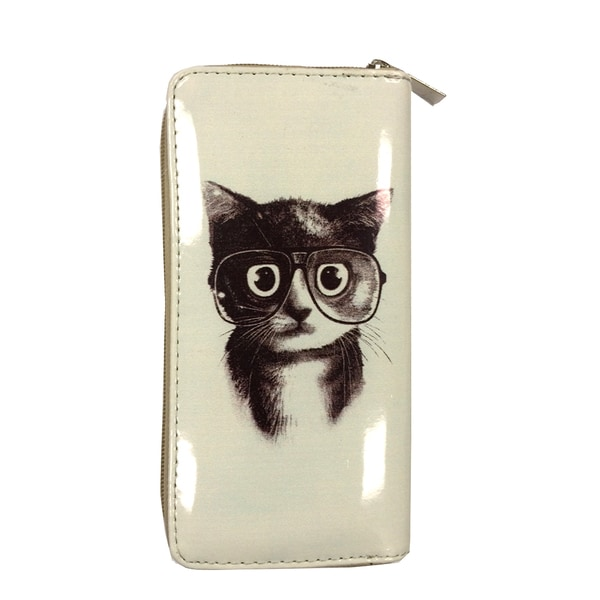 Kitten Nerd Zip-around Wallet