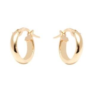 14k Yellow Gold 3x12mm Circle Hoop Earrings