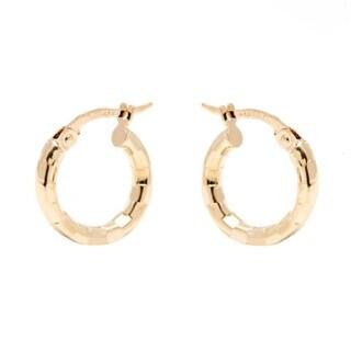 Pori 14k Yellow Gold 2.5x15mm Diamond-cut Hoop Earrings