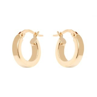 14k Yellow Gold 3x13mm Square Edge Hoop Earrings