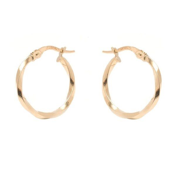 14k Yellow Gold 1.5x18mm Twisted Hoop Earrings