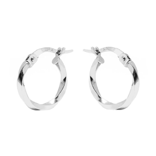 14k White Gold 2x14mm Twisted Hoop Earrings