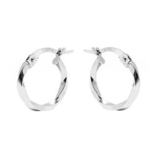 14k White Gold 2x14mm Twisted Hoop Earrings