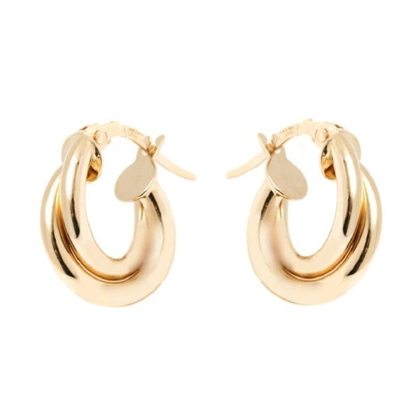 14k Yellow Gold 4x13mm Double Circle Hoop Earrings