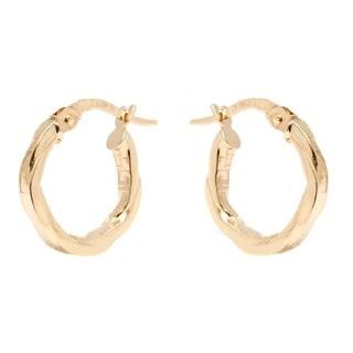 14k Yellow Gold 2x14mm Twisted Greek Design Hoop Earrings