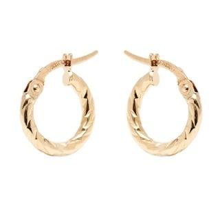 14k Yellow Gold 2x12mm Diamond-cut Hoop Earrings