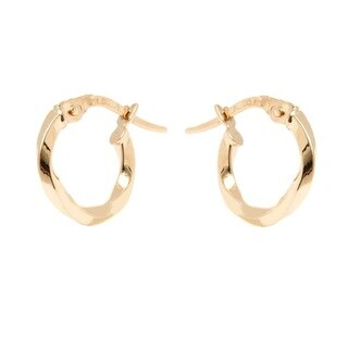14k Yellow Gold 1.5x12mm Twisted Hoop Earrings
