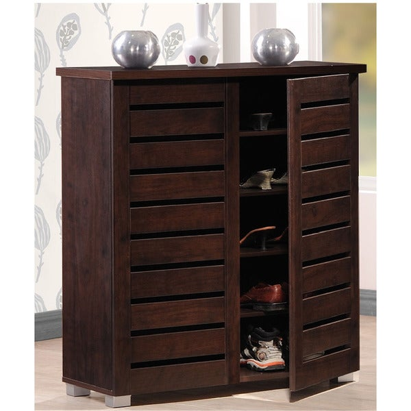 brown shoe storage cabinet rack 5 shelf holds 15 pair vented entryway