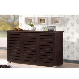 Baxton Studio Redman Contemporary 3-door Dark Brown Shoe Cabinet