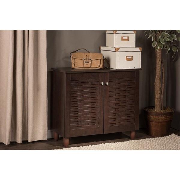 Rhodes Dark Brown Shoe Cabinet With 2 Doors