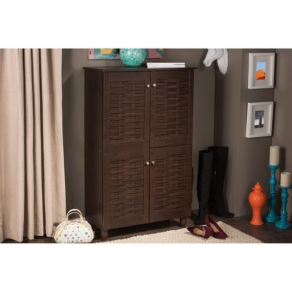Rhodes Dark Brown Shoe Cabinet With 4 Doors
