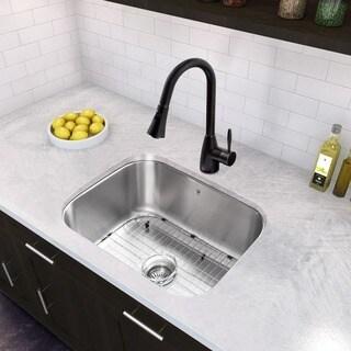 VIGO 23-inch Undermount Stainless Steel 16 Gauge Single Bowl Kitchen Sink and Edison Matte Black Pull-Down Spray Kitchen Faucet