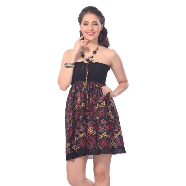La Leela Women's Cotton Black Ring All-over Printed Halter Short Tube Dress