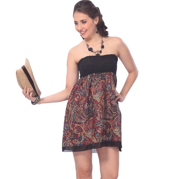 La Leela Women's Brown All-over Printed Cotton Smocked Halter Tube Dress