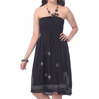 La Leela Women's Black and White Ari Embroiderd One-size-fits-most Tube Dress
