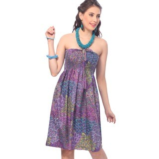 La Leela Women's Purple Peacock Printed Halter Backless Tube Dress