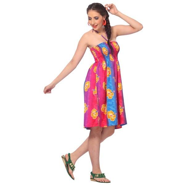 La Leela Women's Likre Hibiscus Floral Blue PinkOne-size-fits-most Tube Dress