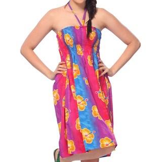 La Leela 3 in 1 Cover up/Strap Beach/HalterNeck/Maxi Skirt Dress Top Flora Pink