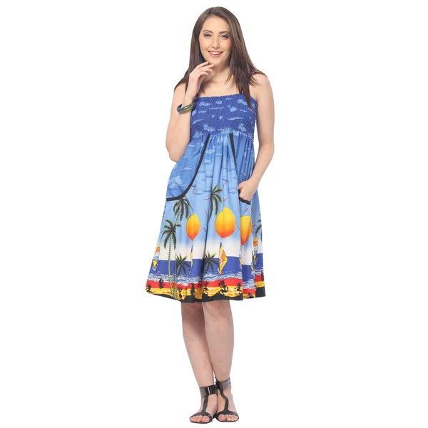 La Leela Women's Royal Blue Palm Tree Short Tube Dress