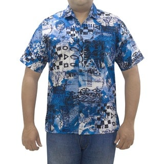 La Leela Men's Cotton Multi Design Print Blue Hawaiian Shirt
