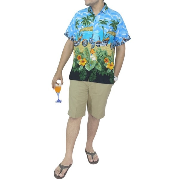 La Leela Men's Blue Likre Vehicle Printed Hawaiian Shirt