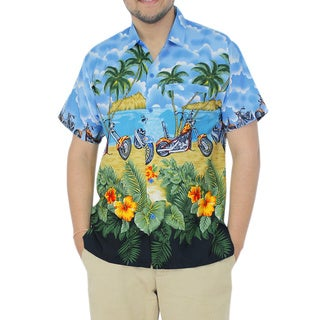 La Leela Men's Blue Likre Vehicle Printed Hawaiian Shirt