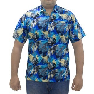 La Leela Men's Cotton All-over Leaf Printed Blue Hawaiian Shirt