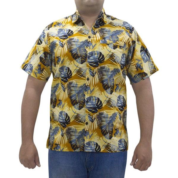 La Leela Men's Cotton All-over Leaf Printed Mustard Hawaiian Shirt