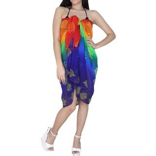 La Leela Sheer Chiffon Lightweight Hawaiian Sarong Cover up 72X42 Inch Multi