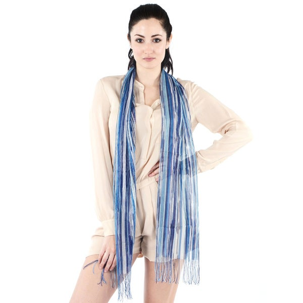 Missoni Blue Multi Sheer Stripe Scarf