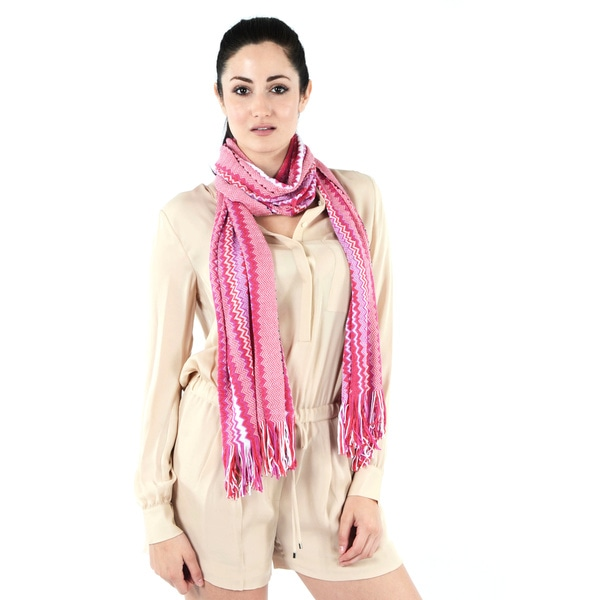 Missoni Pink Varied Zigzag Scarf