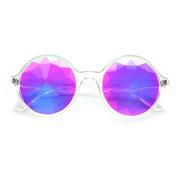 Adult Clear Kaleidoscope Sunglasses Costume Accessory