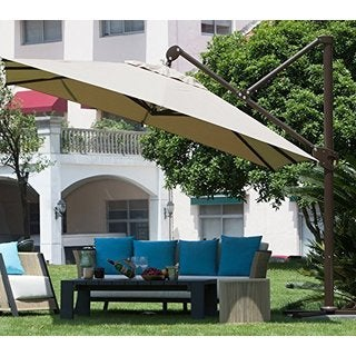 Abba Patio 10-foot Deluxe Square Offset Cantilever Patio Umbrella with Canopy
