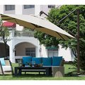 Abba Patio 11-foot Deluxe Square Offset Cantilever Patio Umbrella with Canopy