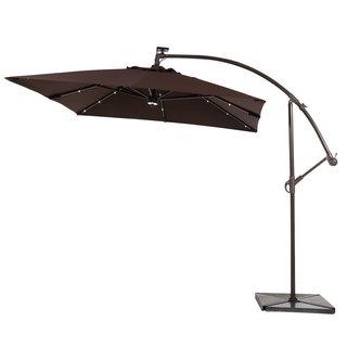 Abba Patio 8-foot Square Outdoor Solar Powered LED Cantilever Crank Lift Patio Umbrella