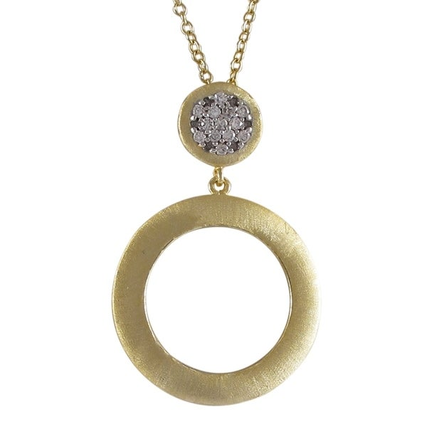 Gold Finish Two-tone Cubic Zirconia Brushed Circle Pendant Necklace
