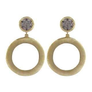 Gold Finish Two-tone Cubic Zirconia Brushed Circle Dangle Earrings