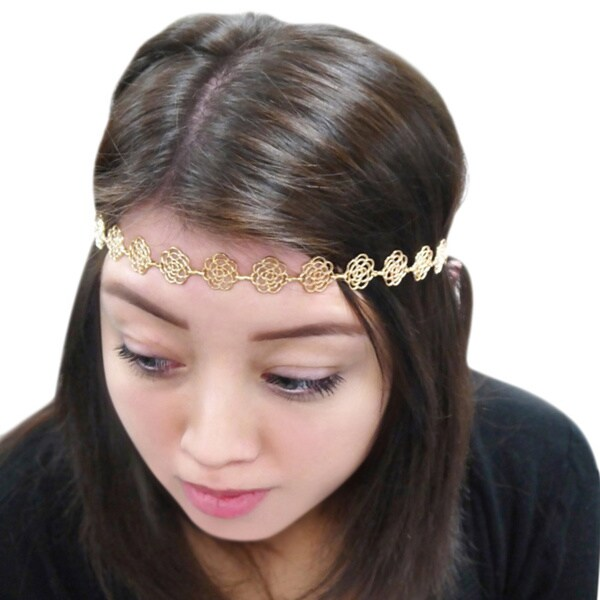 Zodaca Bridal Freesize Gold Metal Chain Rose Headband