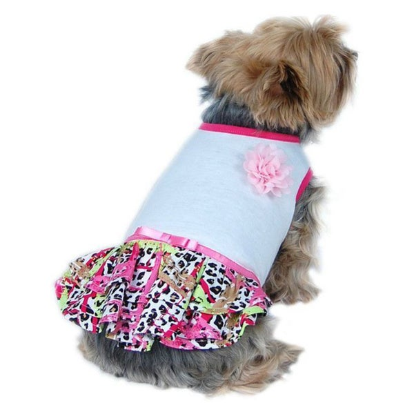 Insten Soft Cotton Jersey Top With Super Fun Colored Hot Leopard Print Skirt for Pet Dogs