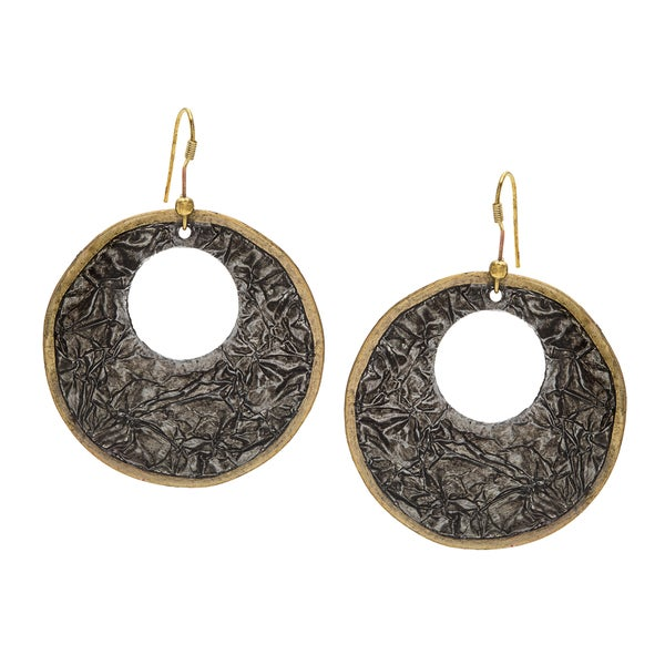 Goldtone Black Foil Earrings (India)