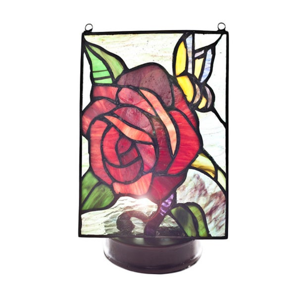 Stained Glass Butterfly Rose Panel with Lit Wireless Pedestal